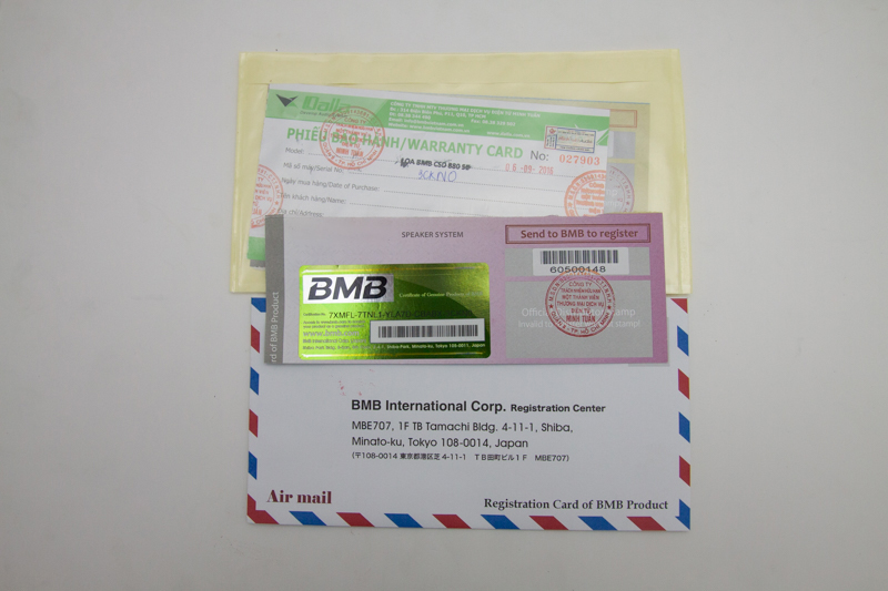 Đây là thẻ bảo hành của BMB xịn