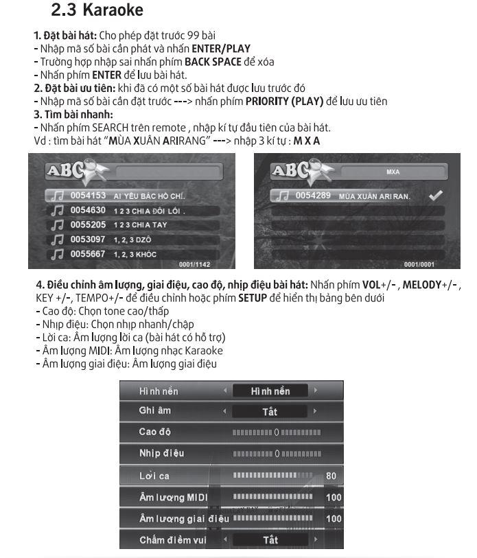 Hướng dẫn sử dụng phần chọn bài karaoke cơ bản Arirang 3600HDMI
