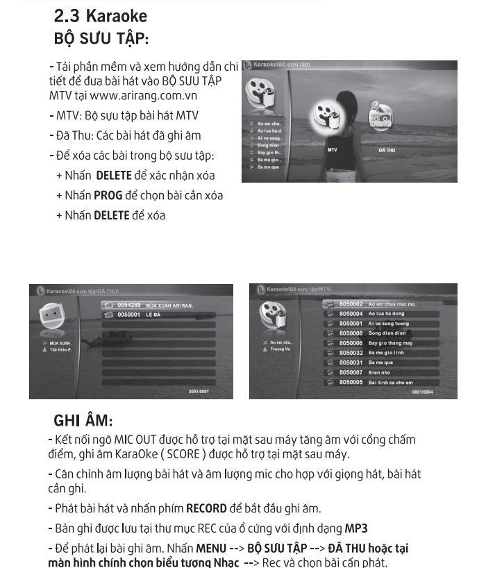 Hướng dẫn sử dụng arirang 3600HDMI phần bộ sưu tập