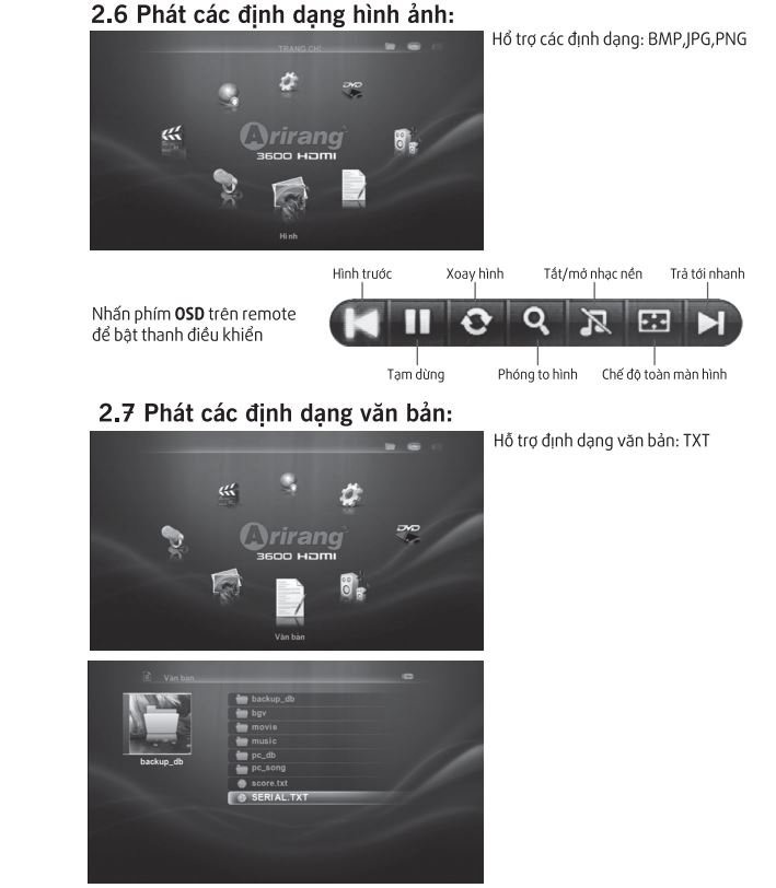 Hướng dẫn sử dụng phần định dạng văn bản và hình ảnh trên Arirang 3600HDMI