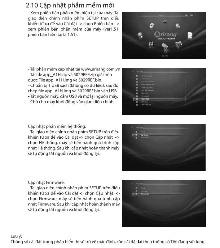 hướng dẫn sử dụng phần cập nhật phần mềm 3600HDMI