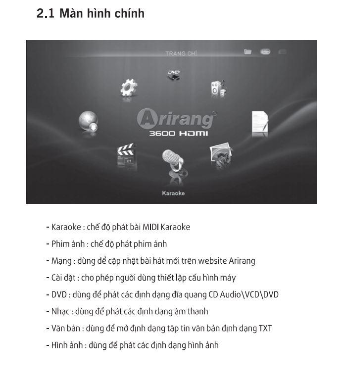 hướng dẫn sử dụng đầu karaoke arirang HDMI 3600- màn hình chính