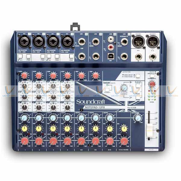 Thiết kế quan thuộc hiện đại của Mixer Soundcraft Notepad 12FX