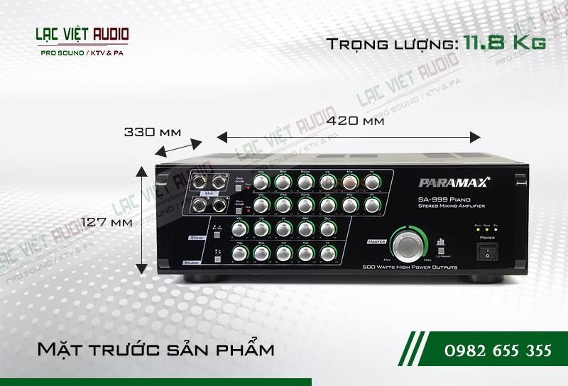 Amply paramax SA 999 PIANO NEW kích thước