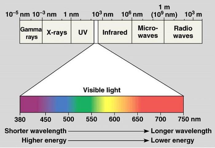 Mắt thường có thể nhìn thấy  ánh sáng có  bước sóng từ 380nm đến 700 nm