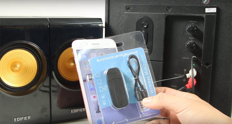 Các thiết bị cần chuẩn bị: usb bluetooth, dây thử nhạc, loa không có bluetooth, điện thoại phát bluetooth,..