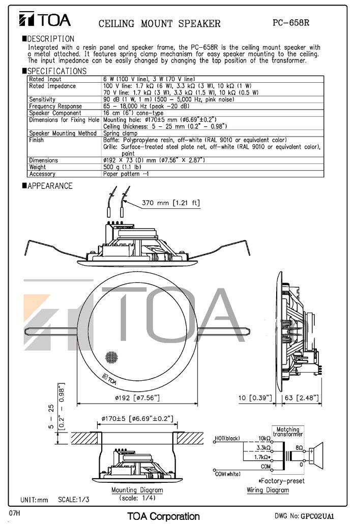 Catalog sản phẩm loa TOA PC 658R
