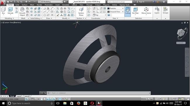Hình ảnh thùng loa sau khi được thiết kế bằng phần mềm AutoCAD
