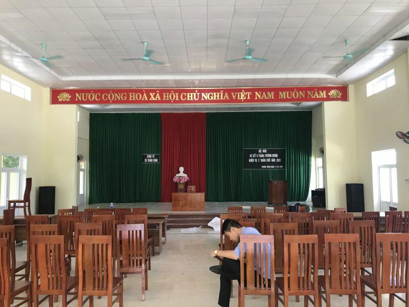 Phối cảnh đặt loa của hội trường UBND xã Thanh Quân