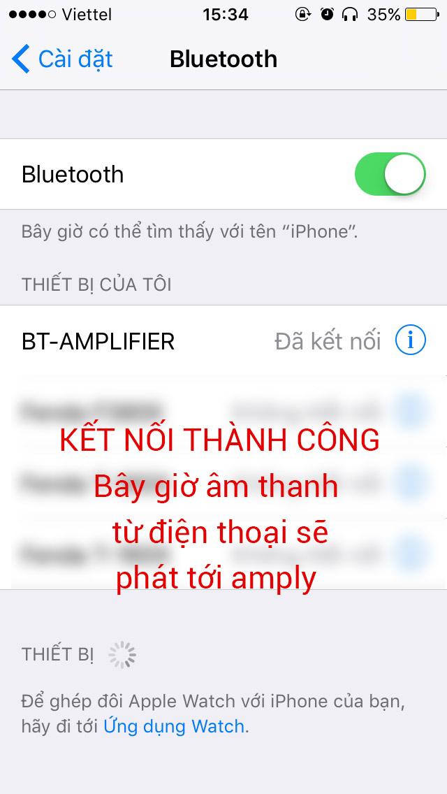 Kết nối điện thoại với amply bằng bluetooth thành công