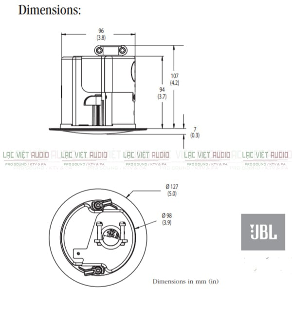 Kích thước loa âm trần JBL Control 42C