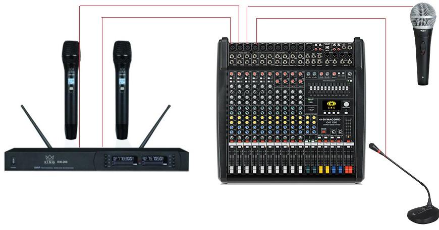 Cắm các loại micro vào mixer Dynacord CMS 1000