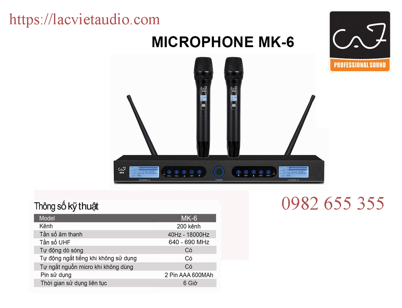 Micro không dây CAF MK 6