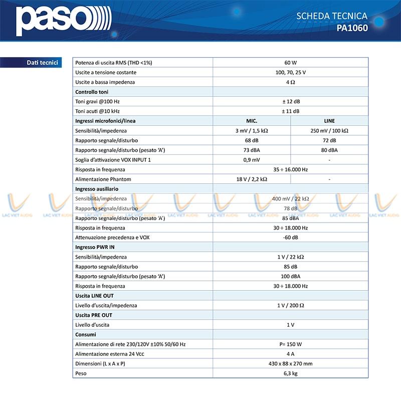 Thông số kỹ thuật và tính năng của Apmly PASO PA060