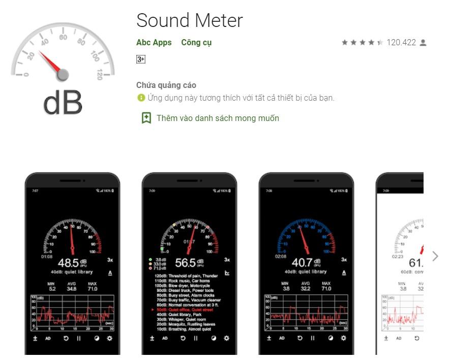 Phần mềm cắt tần số tốt nhất Sound meter