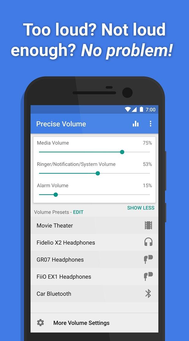 Precise Volume phần mềm tăng âm lượng cho android
