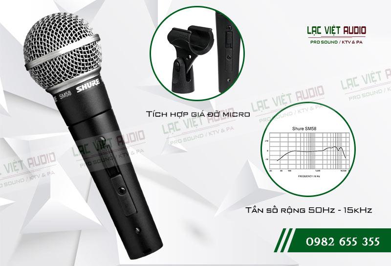 Micro có dây SHURE SM58s thu và truyền âm cực tốt