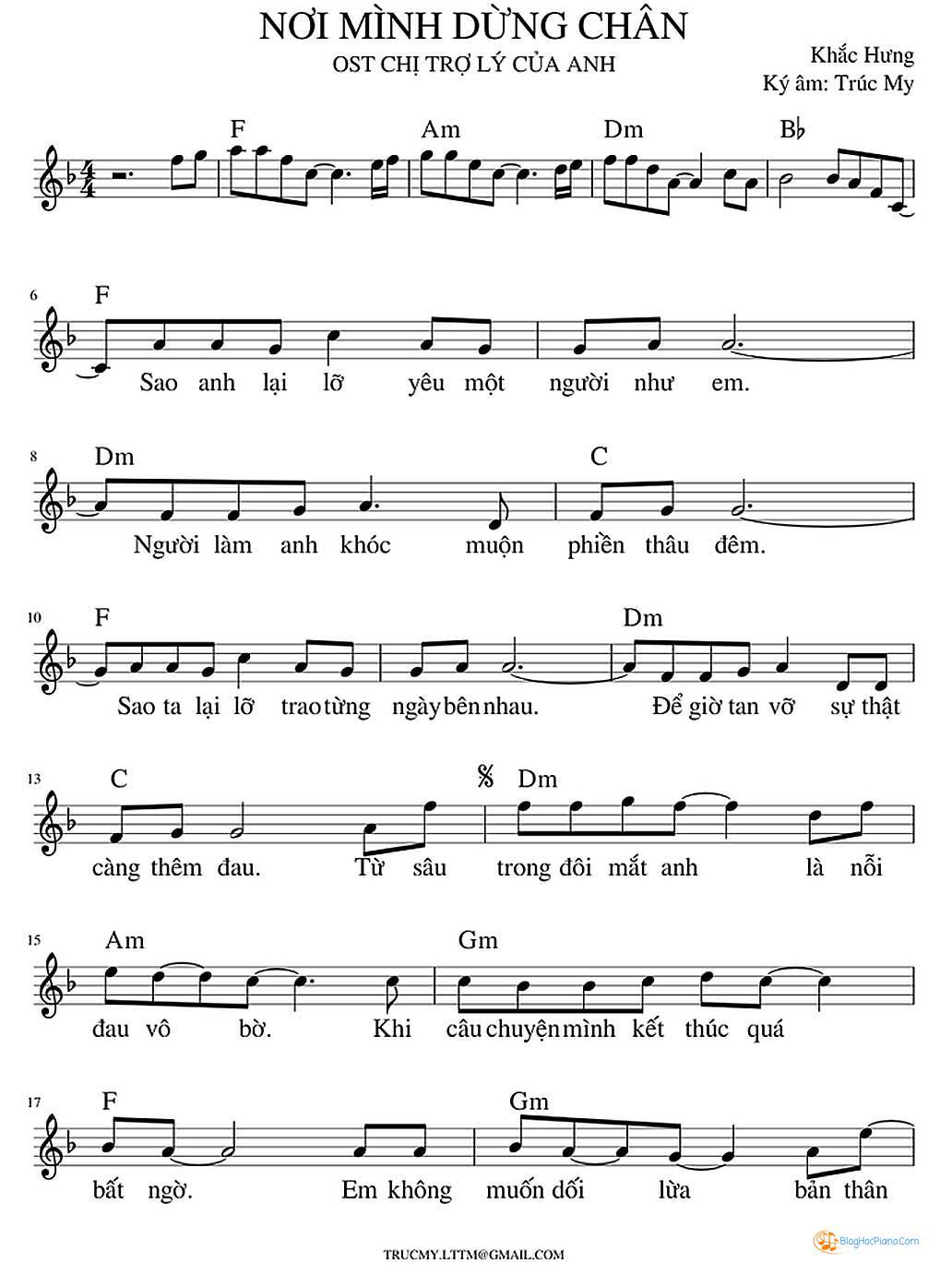 Sheet Piano một cú lừa - Bích Phương
