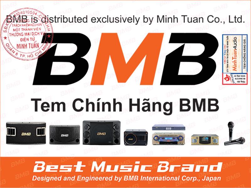 Tem chính hãng BMB có đóng dấu tròn Công ty Minh Tuấn. Tem này được dán cả ở loa lẫn vỏ ngoài thùng carton