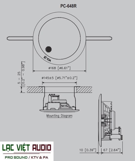 Bản vẽ chi tiết loa âm trần 6W Toa PC-648R