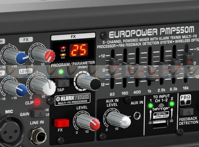 Bộ phản hồi FBQ và hiệu ứng của Mixer BEHRINGER PMP550M