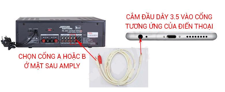 Cách kết nối điện thoại với amply bằng dây