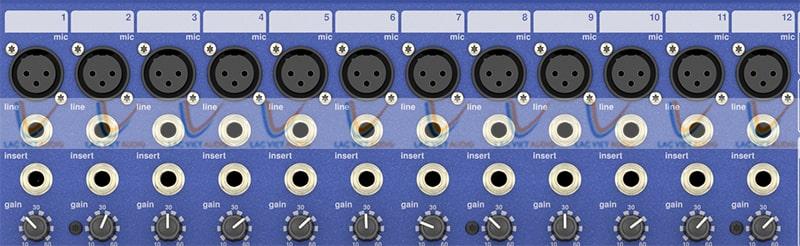 Các cổng đầu vào của Mixer Midas DM16