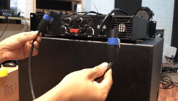 Cách đấu loa sub vào cục đẩy bằng dây nối 2 đầu speaken