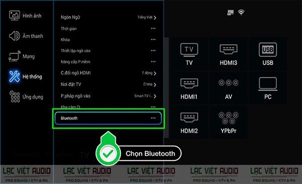 Tại giao diện Bluetooth, chọn On. Sau khi tiến hành quét, chọn thiết bị loa mà bạn muốn kết nối, chọn OK