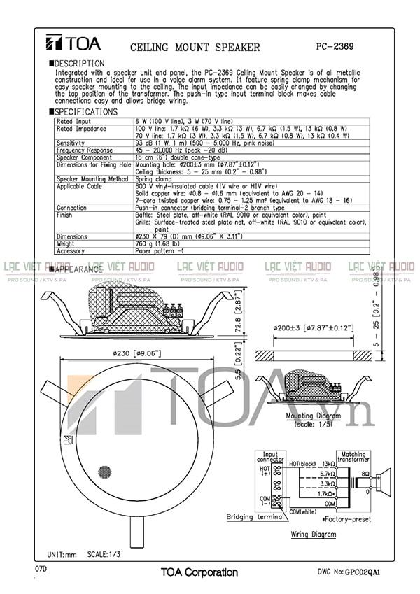 Catalog loa âm trần Toa 6W PC-2369 do nhà sản xuất cung cấp