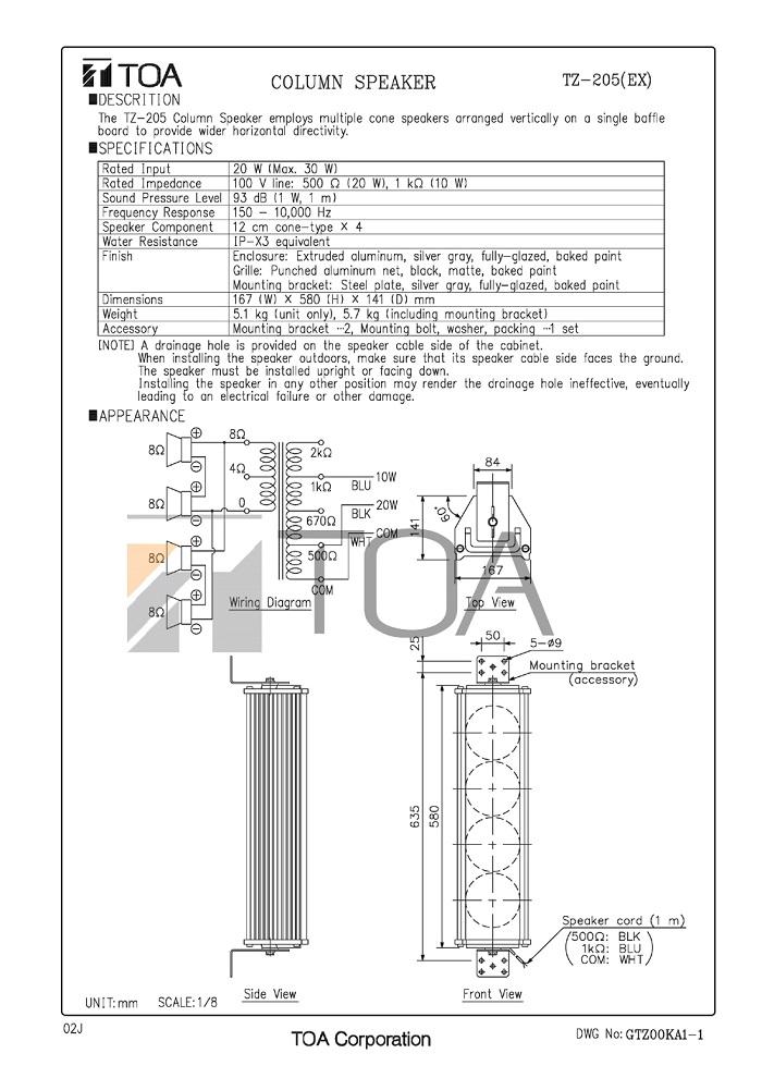 Catalog sản phẩm Loa TZ205