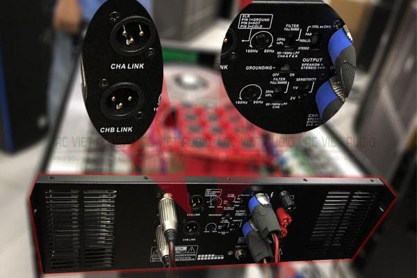 Chi tiết mặt sau của sản phẩm cục đẩy công suất Lạc Việt Audio