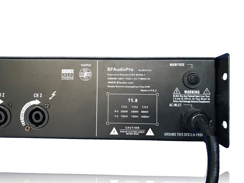 Chi tiết mặt sau Cục đẩy T5.8 BF audio