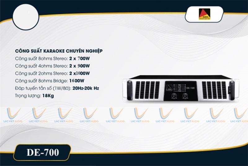 Thông số kỹ thuật của Cục đẩy công suất EUDAC DE-700
