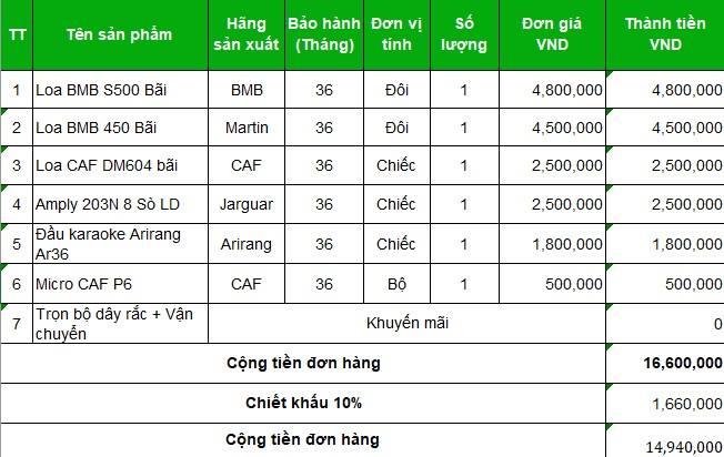 Bảng báo giá thiết bị dàn karaoke GD 166