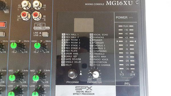Giao diện mixer Yamaha MG 16XU