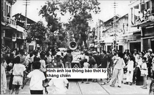 Hỉnh ảnh cái loa thông báo trong thời kháng chiến