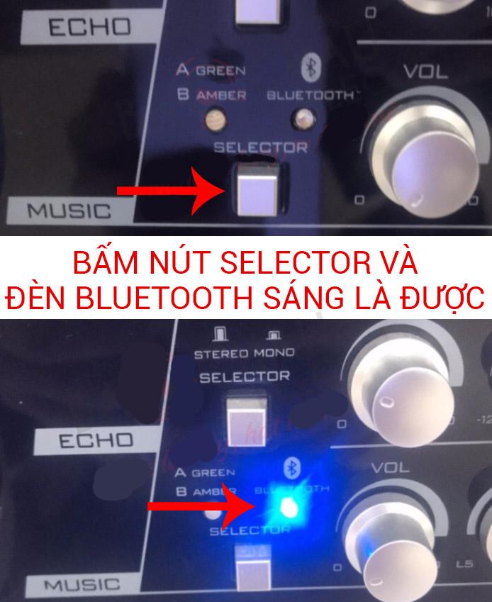 kết nối điện thoại với amply bằng bluetooth trên amply Paramax: Bật tính năng Bluetooth