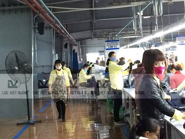 Lắp loa hộp OBT 583 cho nhà máy may Nam Định