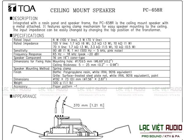 Thông số kỹ thuật của loa TOA PC 658R