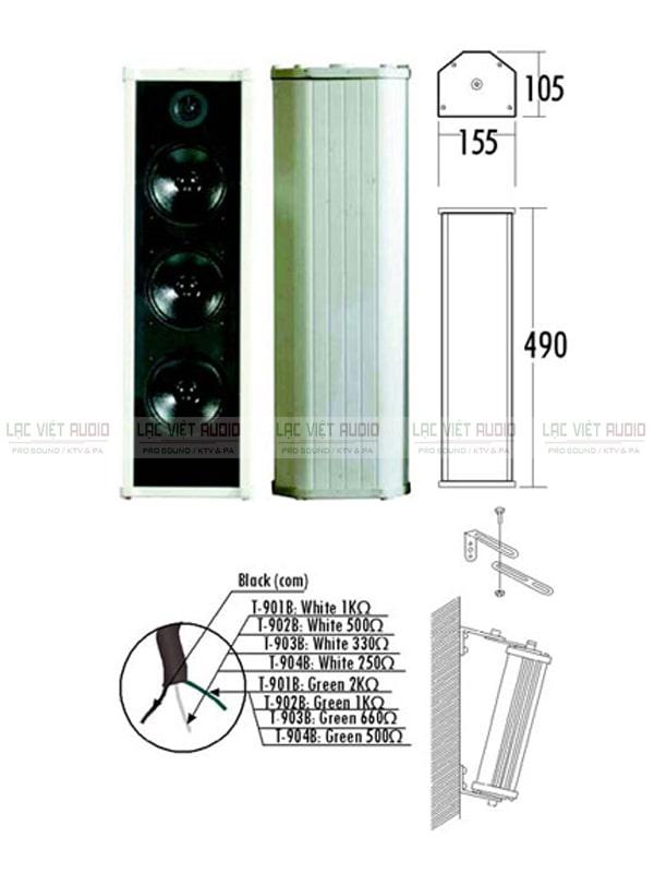 Chi tiết thiết kế và các thông số kỹ thuật cơ bản của loa cột ITC T-903B