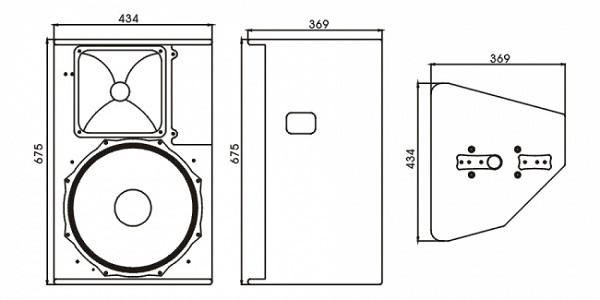 Sơ đồ và kích thước thiết kế của loa Nexo Ps15