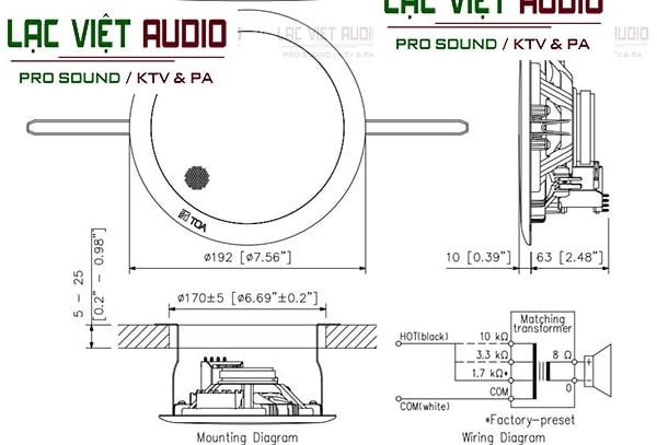 Bản vẽ kỹ thuật về kích thước của loa âm trần TOA PC 658R