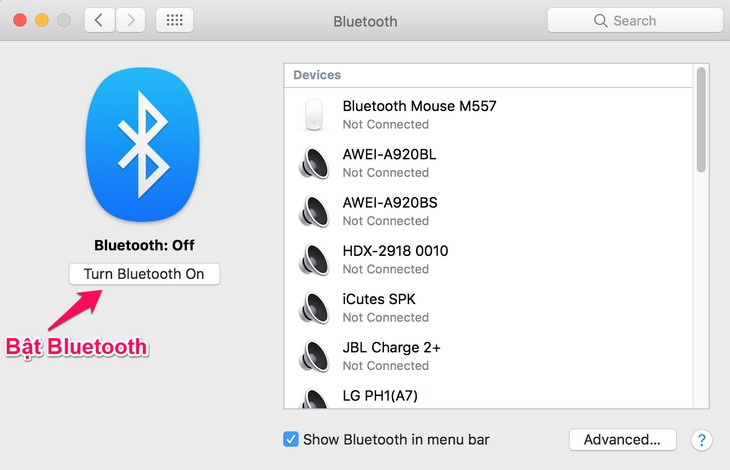 Ket noi loa bluetooth voi laptop MacOS