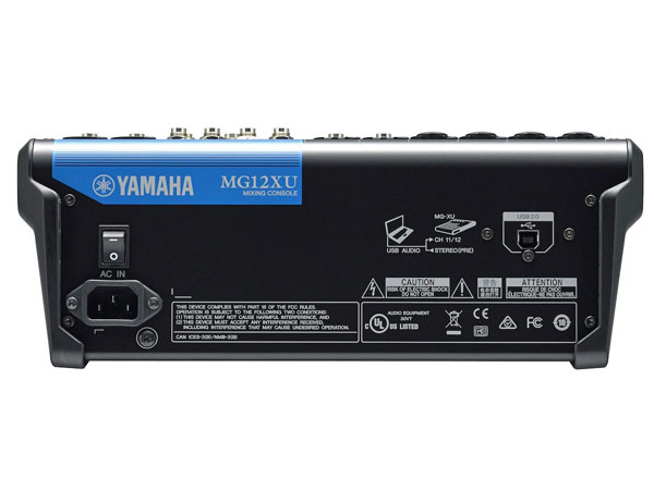 Mặt sau Mixer yamaha MG12XU được thiết kế chuyên nghiệp