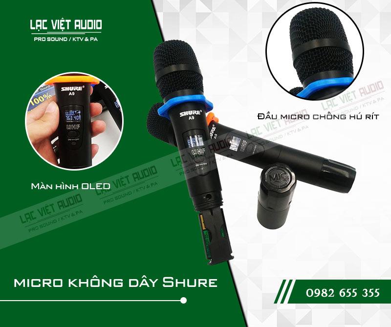 Mic Shure A9 có nhiều tính năng ưu việt cho chất lượng âm thanh tuyệt vời