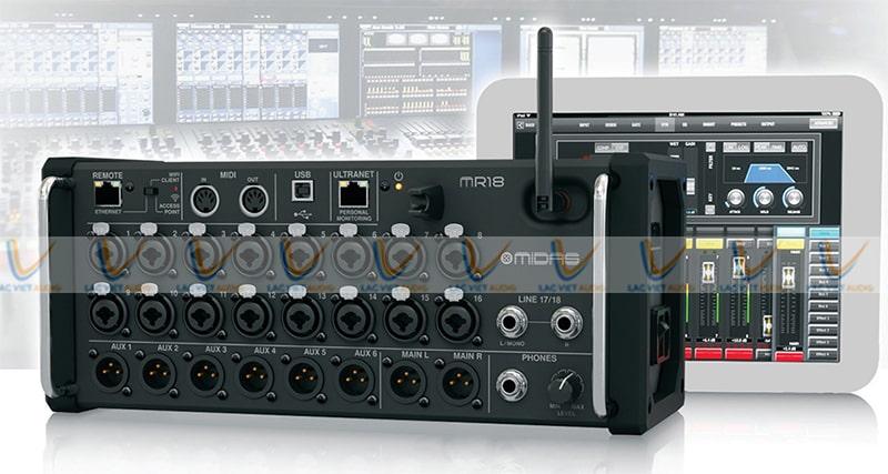 Mixer Midas MR18 có thể điều chỉnh bằng thiết bị di động