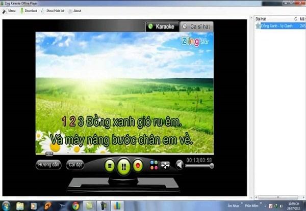 Phần mềm hát karaoke trên máy tính offline Zing Karaoke offline Player