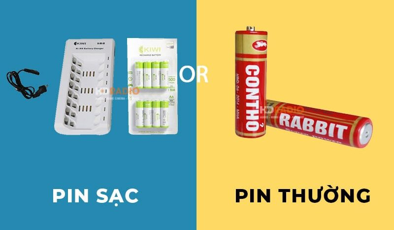 Pin sạc và pin thường dùng được dùng cho micro không dây dưới 2 triệu