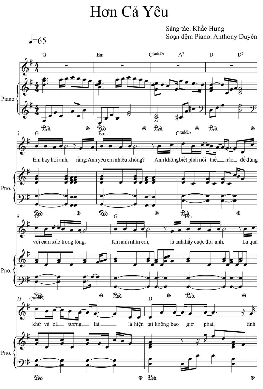 Sheet Piano Hơn cả Yêu Đức Phúc Phần 1